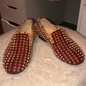 Christian Louboutin Red Rollerboy Spikes Flats